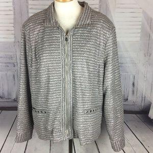 Erin London Plus Silver Gray Zip Blazer Jacket 2x